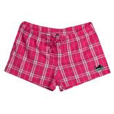 Ladies Dark Fuchsia/White Juniors Flannel Plaid Boxer-Secondary Mark
