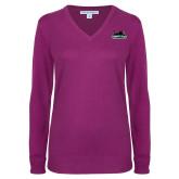 Ladies Deep Berry V Neck Sweater-Secondary Mark