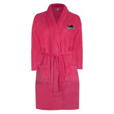 Ladies Pink Raspberry Plush Microfleece Shawl Collar Robe-Secondary Mark