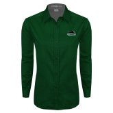Ladies Dark Green Twill Button Down Long Sleeve-Secondary Mark