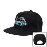 University Black Flat Bill Snapback Hat-Primary Mark