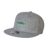 Heather Grey Wool Blend Flat Bill Snapback Hat-Secondary Mark