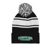 Black/White Two Tone Knit Pom Beanie with Cuff-Plymouth State Panthers