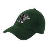 Dark Green Twill Unstructured Low Profile Hat-PSU Stacked w/ Panther Head