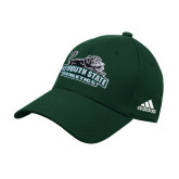 University Adidas Dark Green Structured Adjustable Hat-Primary Mark