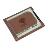 Cutter & Buck Chestnut Money Clip Card Case-PSU Stacked w/ Panther Head Engraved