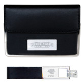 Business Card Case and Key Ring Set Black-Plymouth State Panthers Engraved
