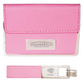 Business Card Case and Key Ring Set Pink-Plymouth State Panthers Engraved
