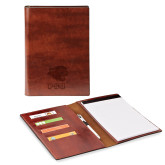 Fabrizio Junior Brown Padfolio-PSU Stacked w/ Panther Head Engraved