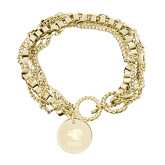 Olivia Sorelle Gold Round Pendant Multi strand Bracelet-PSU Stacked w/ Panther Head Engraved