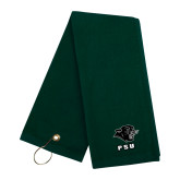 Dark Green Golf Towel-PSU Stacked w/ Panther Head