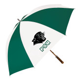 62 Inch Forest Green/White Umbrella-PSU Stacked w/ Panther Head