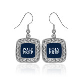 Crystal Studded Square Pendant Silver Dangle Earrings-Poly Prep Stacked