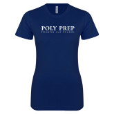 Next Level Ladies SoftStyle Junior Fitted Navy Tee-Poly Prep Country Day School