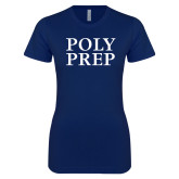 Next Level Ladies SoftStyle Junior Fitted Navy Tee-Poly Prep Stacked
