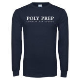 Navy Long Sleeve T Shirt-Poly Prep Country Day School