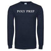 Navy Long Sleeve T Shirt-Poly Prep
