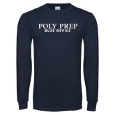 Navy Long Sleeve T Shirt-Blue Devils