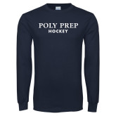 Navy Long Sleeve T Shirt-Hockey