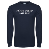 Navy Long Sleeve T Shirt-Lacrosse