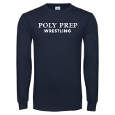 Navy Long Sleeve T Shirt-Wrestling