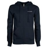 ENZA Ladies Navy Fleece Full Zip Hoodie-Poly Prep