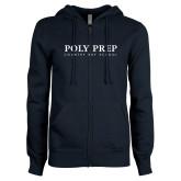 ENZA Ladies Navy Fleece Full Zip Hoodie-Poly Prep Country Day School