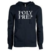 ENZA Ladies Navy Fleece Full Zip Hoodie-Poly Prep Stacked