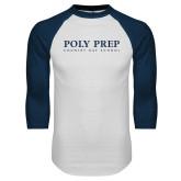 White/Navy Raglan Baseball T Shirt-Poly Prep Country Day School