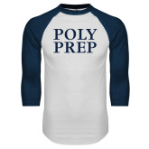 White/Navy Raglan Baseball T Shirt-Poly Prep Stacked
