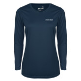 Ladies Syntrel Performance Navy Longsleeve Shirt-Poly Prep Country Day School