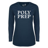 Ladies Syntrel Performance Navy Longsleeve Shirt-Poly Prep Stacked