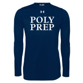Under Armour Navy Long Sleeve Tech Tee-Poly Prep Stacked