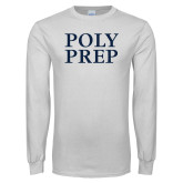 White Long Sleeve T Shirt-Poly Prep Stacked