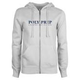 ENZA Ladies White Fleece Full Zip Hoodie-Poly Prep Country Day School