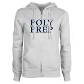 ENZA Ladies White Fleece Full Zip Hoodie-Poly Prep Stacked