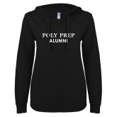 ENZA Ladies Black V Notch Raw Edge Fleece Hoodie-Alumni