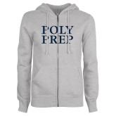 ENZA Ladies Grey Fleece Full Zip Hoodie-Poly Prep Stacked