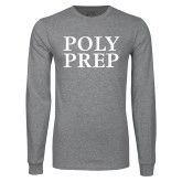 Grey Long Sleeve T Shirt-Poly Prep Stacked