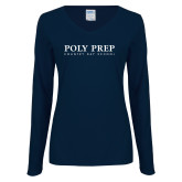 Ladies Navy Long Sleeve V Neck Tee-Poly Prep Country Day School