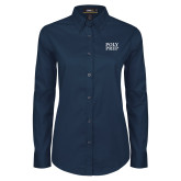 Ladies Navy Twill Button Down Long Sleeve-Poly Prep Stacked