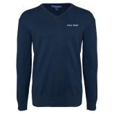 Classic Mens V Neck Navy Sweater-Poly Prep