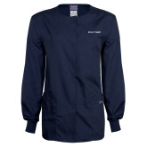 Ladies Navy Snap Front Warm Up Scrub Jacket-Poly Prep