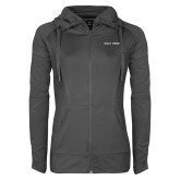 Ladies Sport Wick Stretch Full Zip Charcoal Jacket-Poly Prep