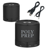Wireless HD Bluetooth Black Round Speaker-Poly Prep Stacked Engraved