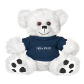 Plush Big Paw 8 1/2 inch White Bear w/Navy Shirt-Poly Prep Country Day School
