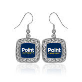 Crystal Studded Square Pendant Silver Dangle Earrings-Point University Vertical