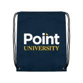 Navy Drawstring Backpack-Point University Vertical
