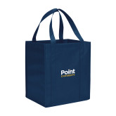 Non Woven Navy Grocery Tote-Point University Vertical