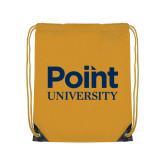 Gold Drawstring Backpack-Point University Vertical